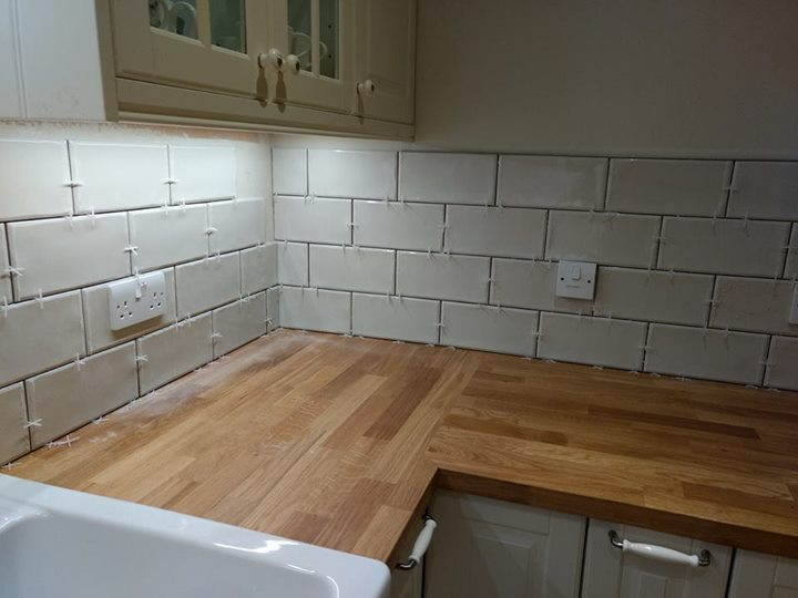 We Were Asked To Tile This Kitchen To Cover Up The Unsightly Plastering The Customer Supplied The Beautiful Italian Porcelain Metro Tiles And Grout Birds Bathrooms